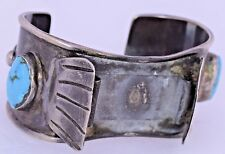 Turquoise Watch Band Sterling Silver Navajo Rustic Vintage Cuff Chunky Statement