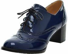 BEAUTOSOUL Women's Oxford Leather Mid Heel Shoes Dress Pumps Blue Size 7