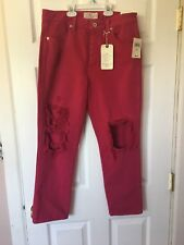 Lucky Brand High Rise Tomboy Pink Distressed Crop womenS jeans Sz 10/30 MSRP $99