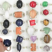 50/80/100Pcs Wholesale Jewelry Ring Natural Stone Silver Plated Rings Gifts Lots