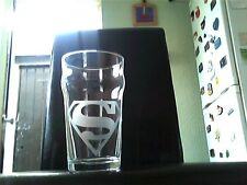 Superman Engraved Etched Beer Pint  Glass