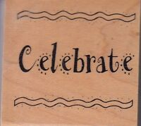 """celebrate art gone wild Wood Mounted Rubber Stamp 2 x 2""""  Free Shipping"""