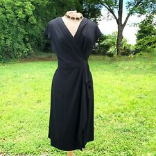 Vintage Due' Per Due' Little Black Draped Wrap Dress Size  S/M