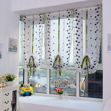Kitchen Window Rome Curtain Rod Liftable Floral Sheer Voile Valances Decor H