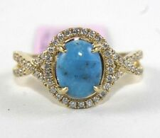 Oval Cut Turquoise & Diamond Halo Infinity Ring 14k Yellow Gold 1.99Ct