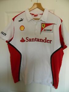 F1 Ferrari Team Shirt - Official Puma - Santander Logo -  X Large VGC