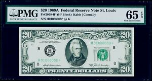 $20 1969A Federal Reserve * Star Note St. Louis Fr#2068-H* PMG 65 EPQ Gem UNC