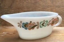 Vintage Mid Century JAJ Gravy Boat/ White Glass/Pyrex/Floral/1950's/60's/Display