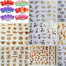 Nail Art Gold Silver 3D Stickers Butterfly Flowers Stones Design Decoration Tips