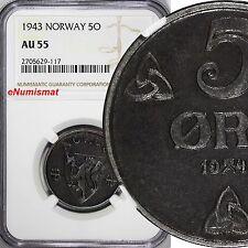 Norway Iron 1943 5 Øre Ngc Au55 World War Ii German occupation issue Km# 388