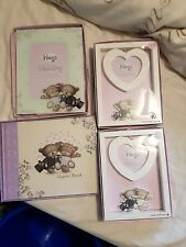 HUGS Wedding Guest Book & 3 Photo Picture Frames Brand New