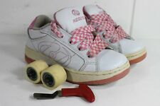 Womens/Girls Pink White Heelys Size 2 Wo Size 1 Youth Style 7142 w/ Wheels+Tool