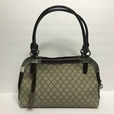 ESBEDA Women's Medium Beige Coated Canvas and Brown Patent Leather Handbag Purse