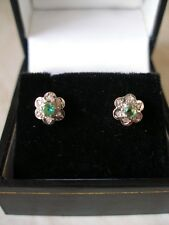 PAIR OF 9 CARAT GOLD EMERALD & DIAMOND CLUSTER EARRINGS MADE IN UK BRAND NEW