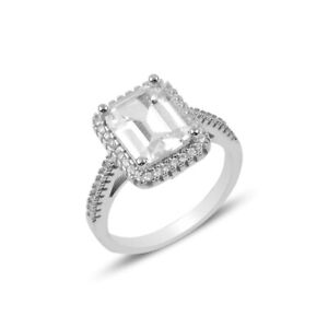 RHODIUM PLATED 925 SILVER SOLITAIRE RING -  8mm x 6mm EMERALD CUT CUBIC ZIRCONIA