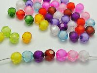 """100 Mixed Color Acrylic Faceted Round Beads 10mm """"Bead in Bead"""""""