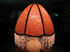 "Victorian French EX Large Floor or Table Lamp Shade ""Rose""  Bead Fringe"