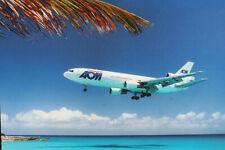 AK Airliner Postcard FLUGHAFEN ST. MARTEEN AOM DC-10