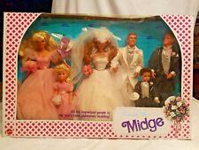 BARBIE DOLLS 1990 WEDDING PARTY MIDGE GIFT SET KELLY TOMMY MIDGE KEN TODD NIB