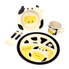 Green Tones Cow Kids Set/Home Dinner Set/Dinnerware/Eco-friendly/Bamboo/Recycled