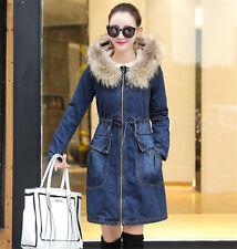 Damen Jacke Denim Jeansjacke mit Kapuze Warm Baumwolle Mantel NEU Gr:S-2XL
