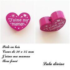 Perle en bois de 30 x 25 mm, Perle plate Coeur, J'aime ma maman : Rose foncé