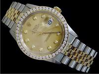 Rolex 18K Gold & Stainless Steel Datejust w/Diamond Dial & 2.5 ct Bezel 16013