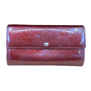 LV2230 LOUIS VUITTON Burgundy Vernis Monogram Leather Sarah Long Envelope Wallet