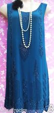 KALIKO SIZE 18 BEADED COCKTAIL 20's DOWNTON FLAPPER STYLE TEAL DRESS US 14 EU 46