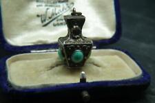 Best Antique Victorian Etruscan Revival Silver & Turquoise Urn Pendant/Charm