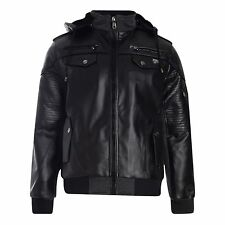 Men's D-rock Faux PU Leather LOOK Biker Jacket Coat Full Zip Detach Hooded Parka Small Black - Hq13-wright
