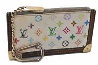Auth Louis Vuitton Monogram Multicolor Pochette Cles White Coin Case LV B4156