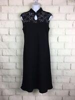 Evan Picone 8 M Medium Dress Black Formal Sleeveless High Neck Lace Keyhole Midi