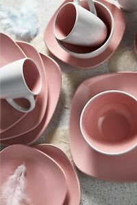 16-Piece Nova Square Pink Dinner Set