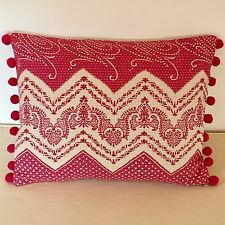 """NEW Kate Forman Elodie Pink Fabric 17""""x13"""" Pom Pom or Piped Cushion Cover"""