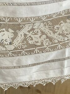 Antique French large MANTELPIECE COVER curtain SHELF COVER filet lace c1900