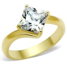 18K GOLD EP 2.0CT DIAMOND SIMULATED PRINCESS RING size 10 or T 1/2