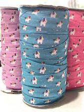 "1m/3m/5m Unicorns FOE 5/8"" Fold Over Elastic Headband Hairties 3 Colours"