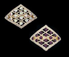 CRYSTAL RHOMBUS SQUARE DIAMOND SHAPE LARGE BARRETTE CLIP GOLD TONE CLEAR PURPLE