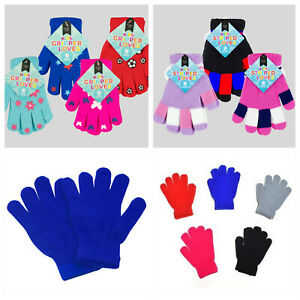 Childrens Gloves Girls Boys Knitted Plain Pattens Warm Winter 4-9 years