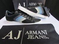 New Armani Jeans AJ Black Blue White Stripes Leather Men Shoes Sneakers Size 6.5