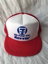 "VINTAGE 7 ELEVEN ""WE KEEP YOU REVVIN'"" RED TRUCKER HAT"