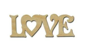 Love Word with Heart Unfinished Wood Cutouts Artistic Craft Supply Made In USA