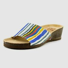 NWT SIZE 10 MUK LUKS MULI-COLOURED TEXTILE STRIPED COMFY LOW WEDGE SLIDE/SANDAL