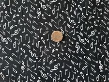 Black with White 'Musical Notes' poly/cotton fabric/Material - 1 full metre