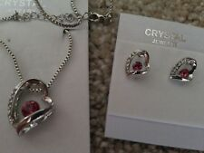 Silver pink Fashion Crystal Pendant Necklace Earrings  heart Set nickel free