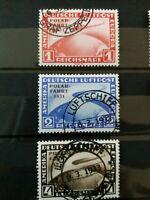 ND Polarfahrt, Deutsches Reich 1931, Zeppelin,Satz Mi 456-458 ,Optik gestempelt