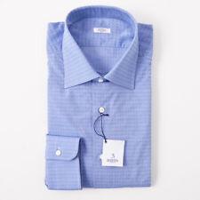 NWT $350 BARBA NAPOLI Blue Floral Jacquard Cotton Dress Shirt 18 x 37 Handmade