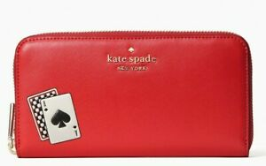 Kate Spade Large Continental Wallet Red Leather Ziparound WLR00291NWT  $239 FS