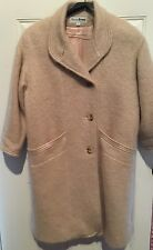 Vintage Cream Mohair Wool Long Full Length Coat Wayne Evans 12P Lined Soft Warm